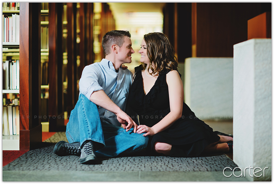 Kansas City Downtown Library Engagement Session Pictures - Carter Photography