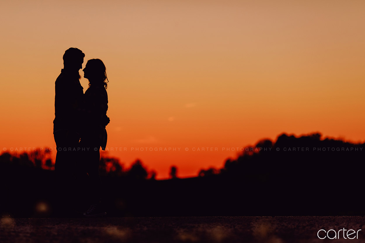 Cedar Rapids Iowa City Engagement Pictures Photographers Sunset Silhouette - Carter Photgraphy