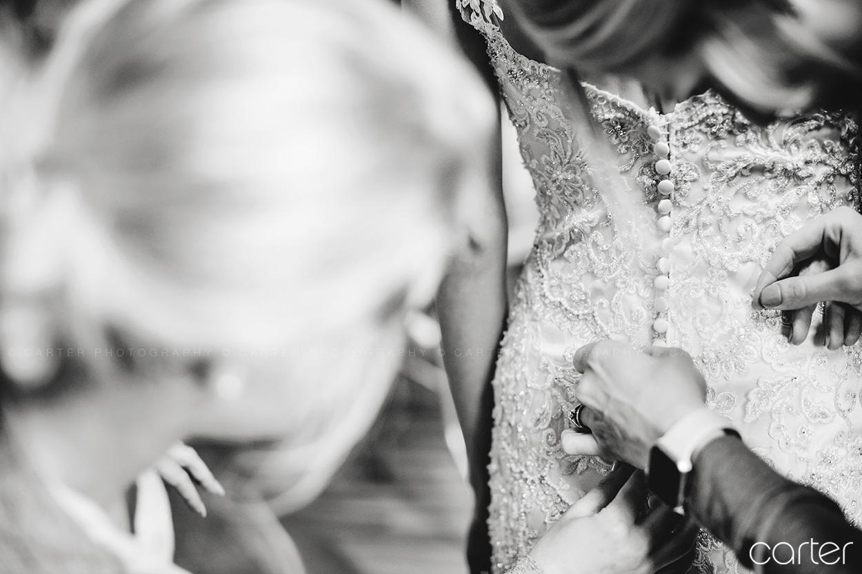 Wedding Bride Getting Ready Into Dress Old Brick Iowa City - Carter Photography