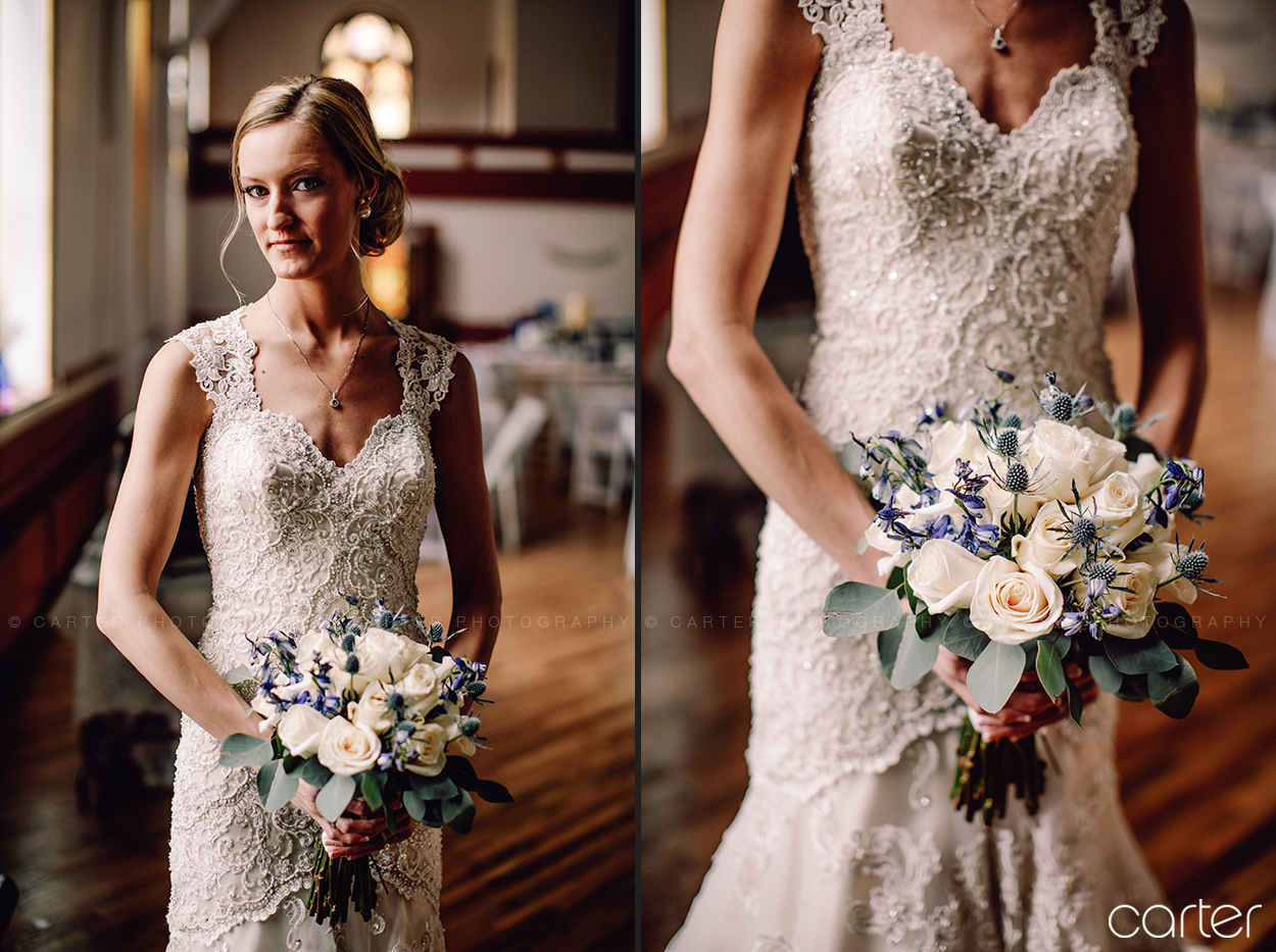 Wedding Bride and Bouquet at Old Brick Iowa City - Carter Photography