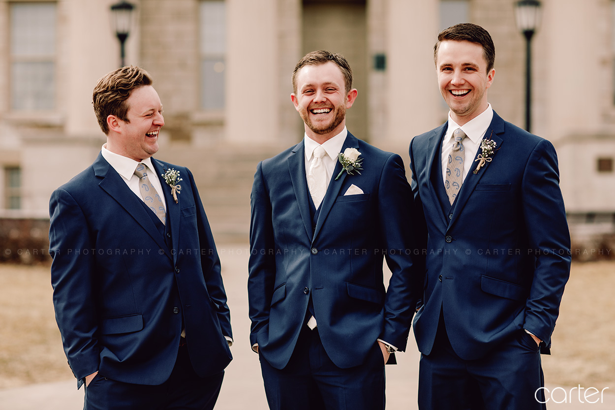Groomsmen Wedding Pictures Iowa City Old Capitol - Carter Photography