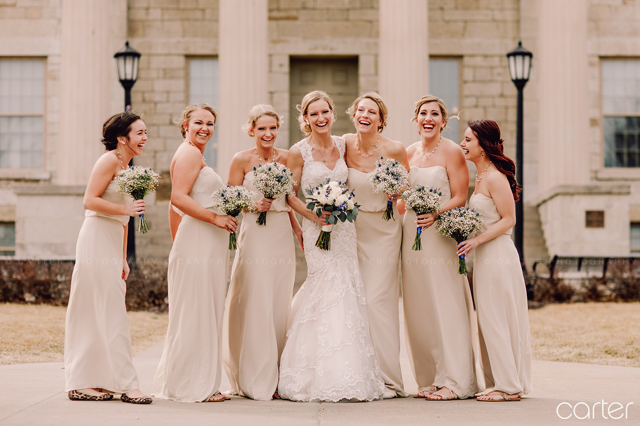 Bridesmaids Wedding Pictures Iowa City Old Capitol - Carter Photography