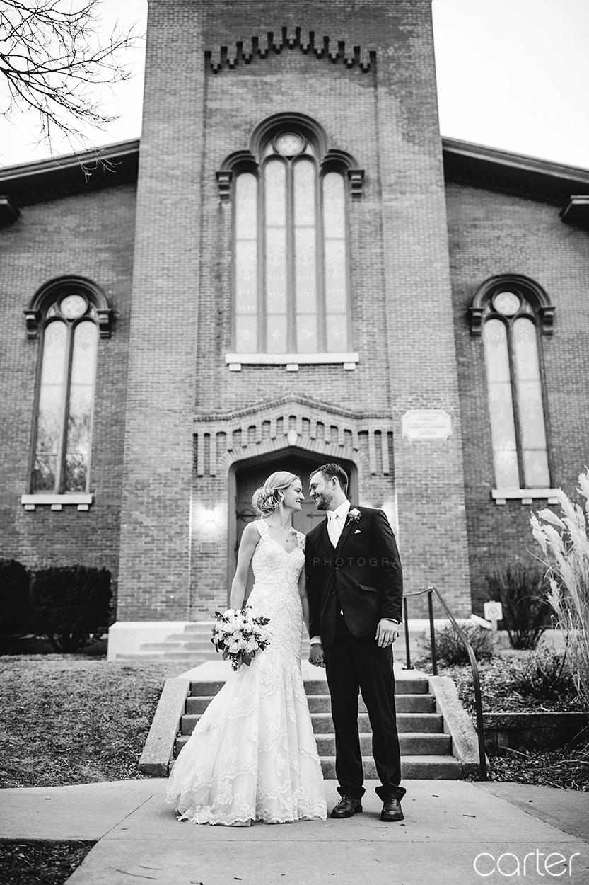 Wedding Bride and Groom Old Brick Iowa City - Carter Photography