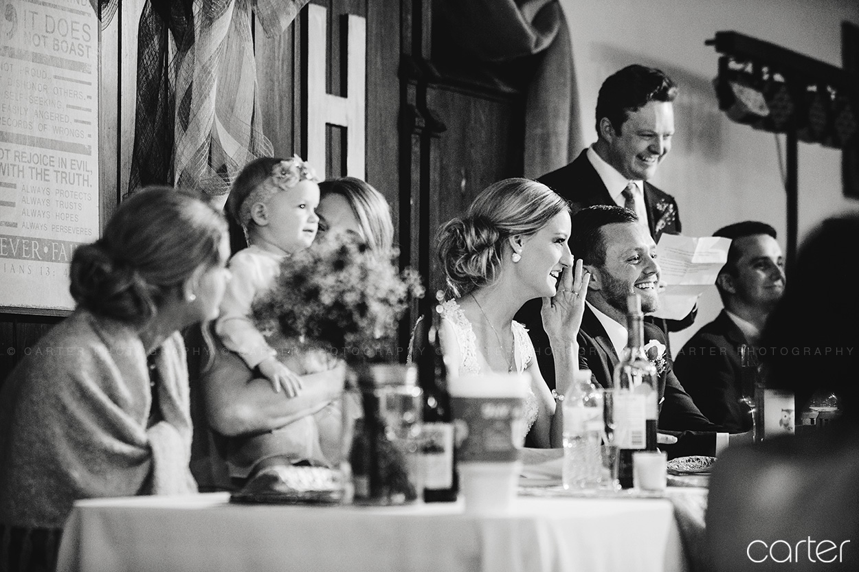 Old Brick Wedding Party Reception Toasts Iowa City Carter Photography