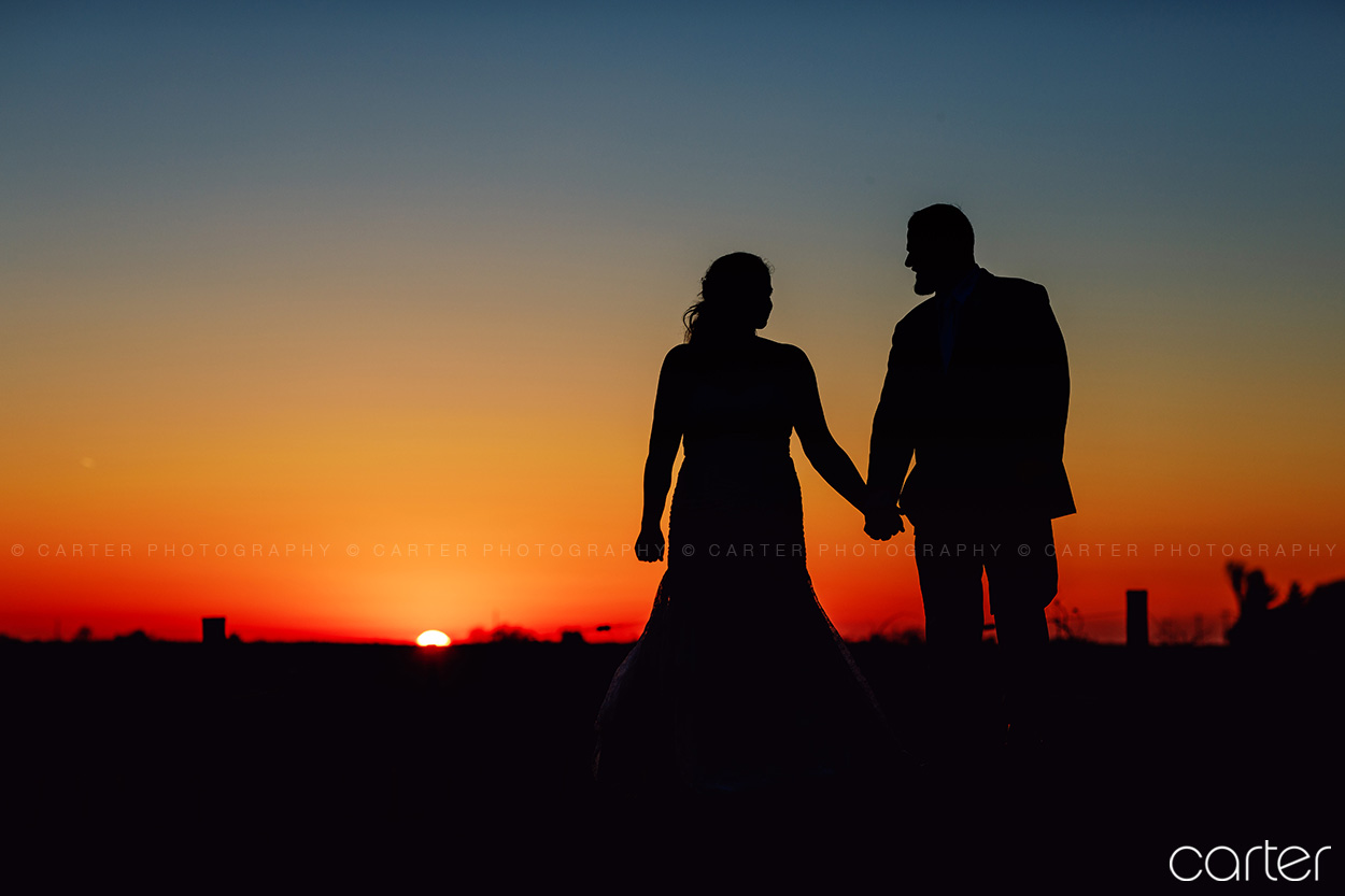 Carter Photography Cedar Rapids Iowa Photographers Airport Rd Vineyard Dramatic Sunset Wedding Pictures