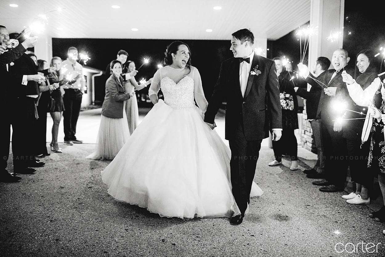 Bella Sala Wedding Sparkler Exit Pictures Iowa Photographers - Carter Photography
