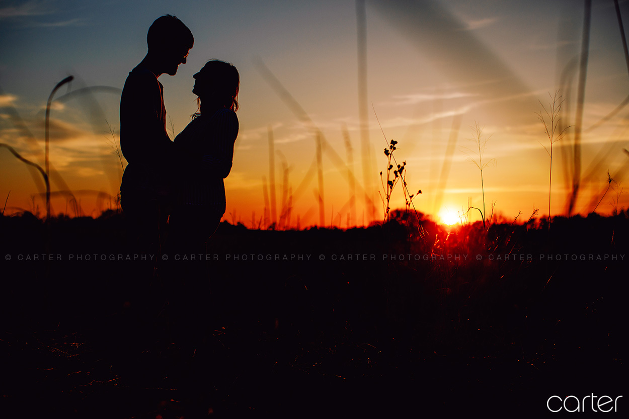 Sunset Cedar Rapids Engagement Pictures Morgan Creek Park - Carter Photography