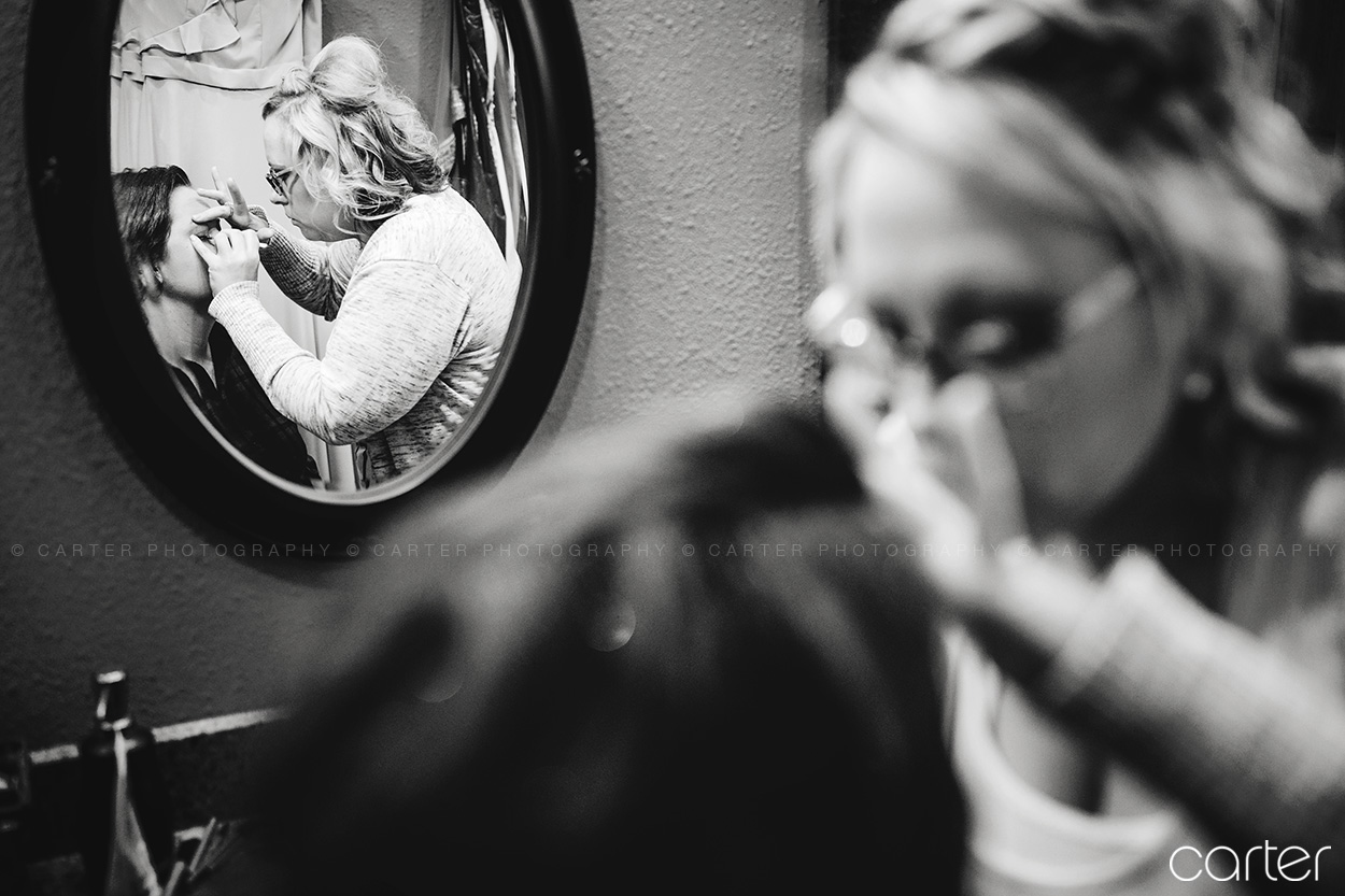 Bride's Makeup Getting Ready Barn on the Ridge Wedding Pictures Burlington Iowa Carter Photography
