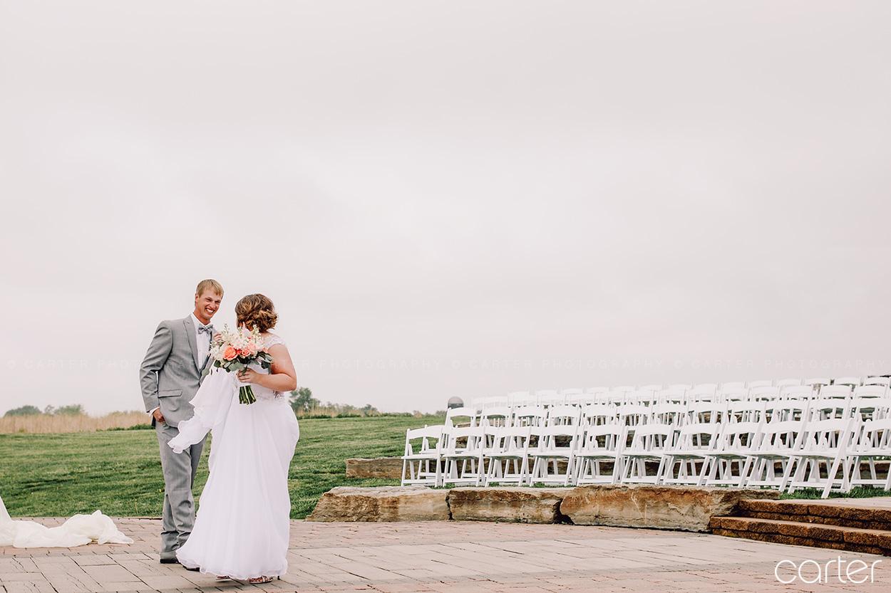 Bride Groom First Look Reveal Barn on the Ridge Wedding Pictures Burlington Iowa Carter Photography