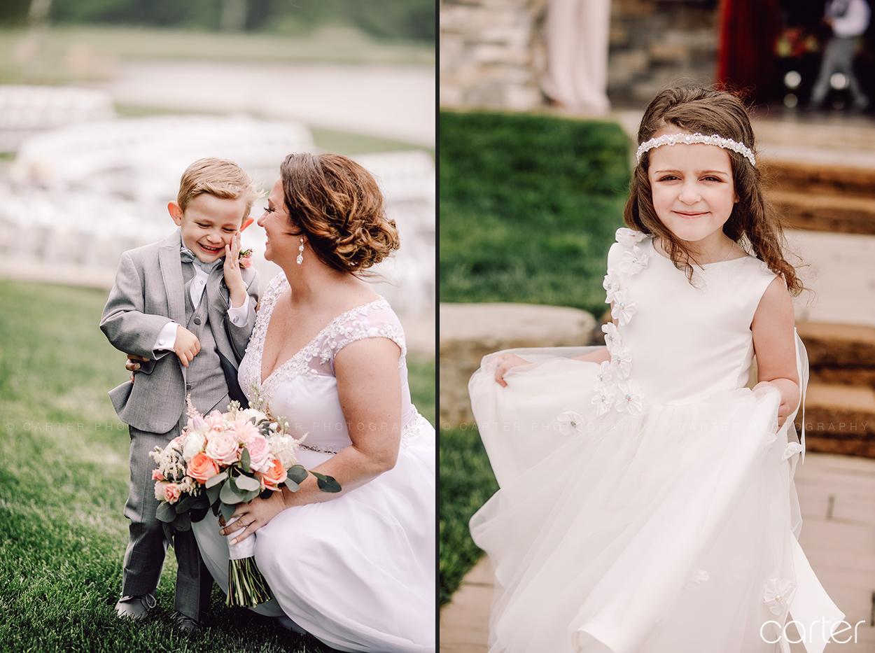 Ring Bearer Flower Girl Barn on the Ridge Wedding Pictures Burlington Iowa Carter Photography