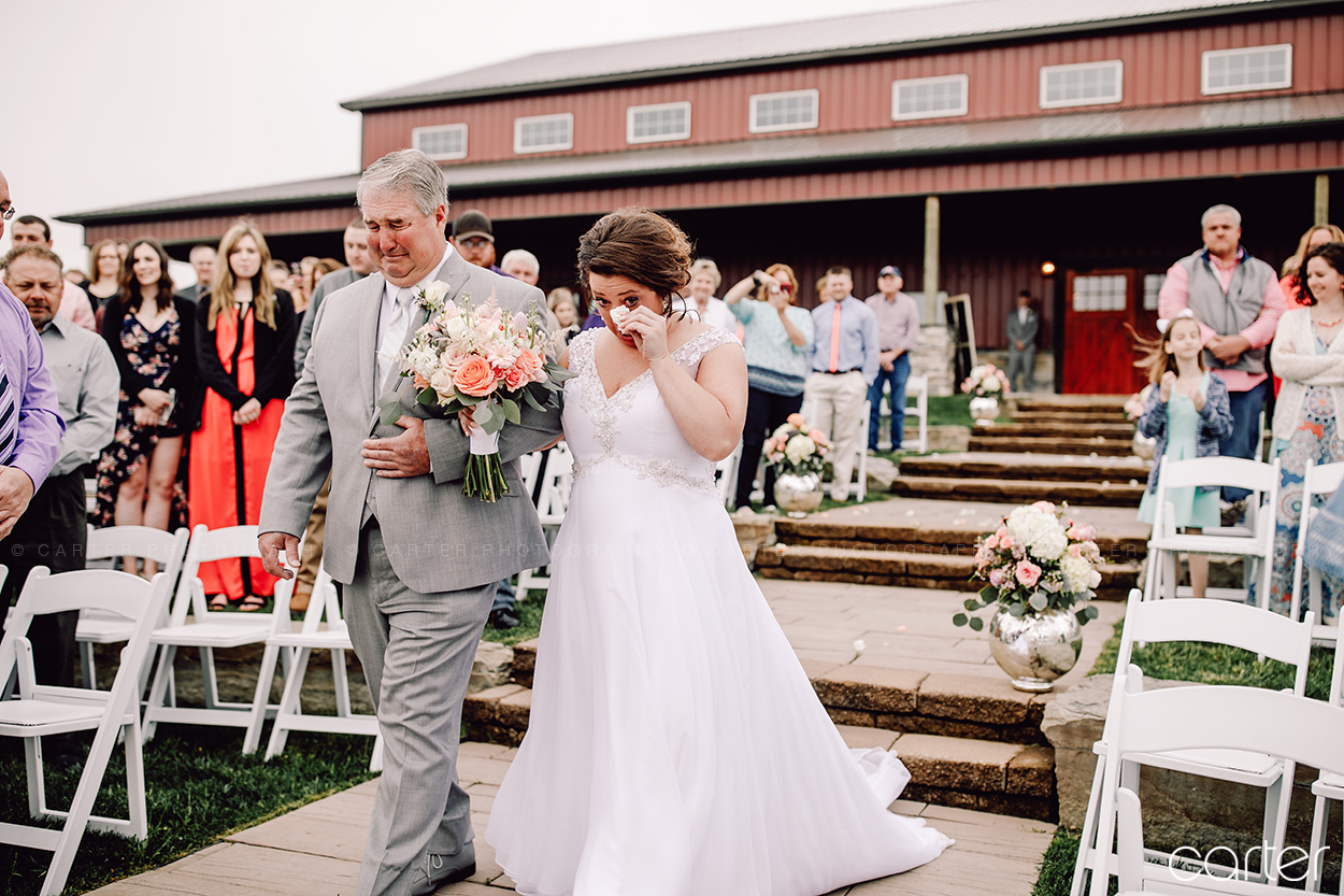 Father Bride Walking Down the Aisle Barn on the Ridge Wedding Ceremony Pictures Burlington Iowa Carter Photography