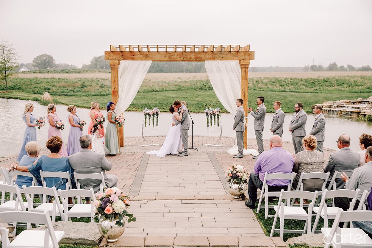 First Kiss Barn on the Ridge Wedding Ceremony Pictures Burlington Iowa Carter Photography