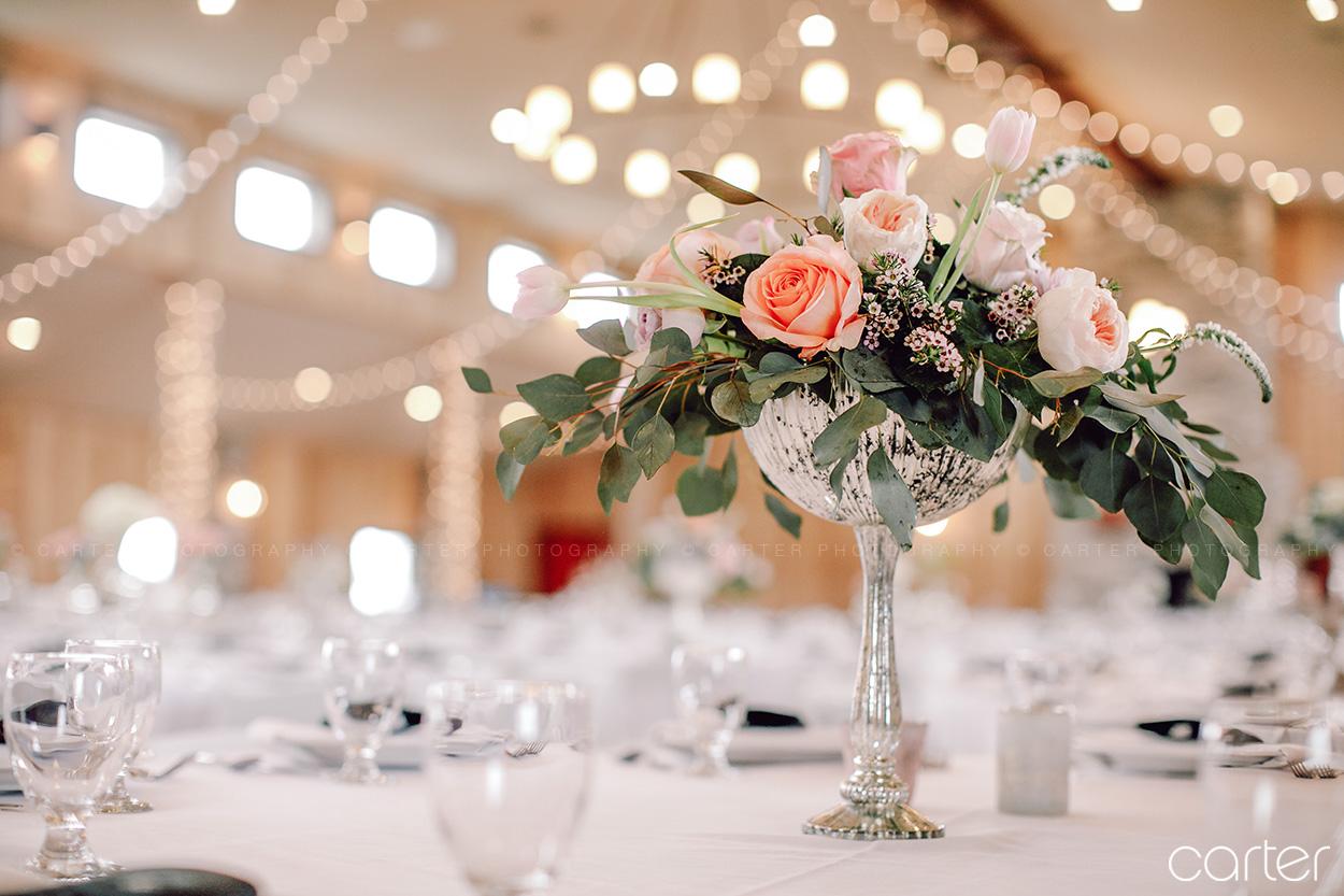 Floral Centerpieces Barn on the Ridge Wedding Pictures Burlington Iowa Carter Photography