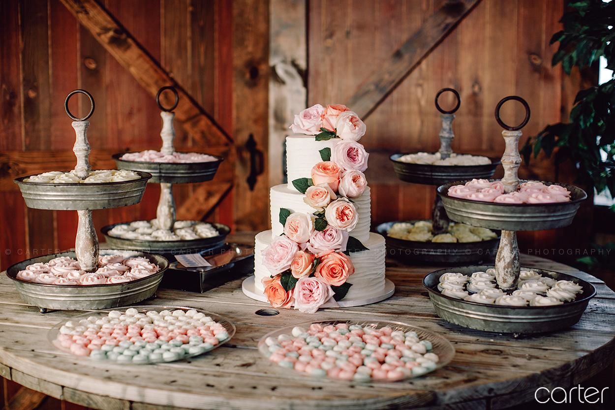 Cake Cupcakes Table Barn on the Ridge Wedding Pictures Burlington Iowa Carter Photography
