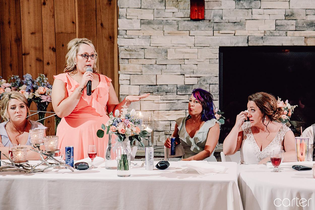 Candid Reception Toasts Barn on the Ridge Wedding Pictures Burlington Iowa Carter Photography