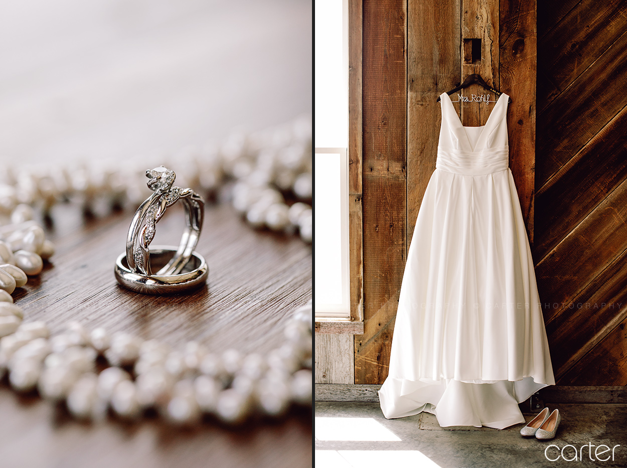 Bride Wedding Dress and Rings - Carter Photography