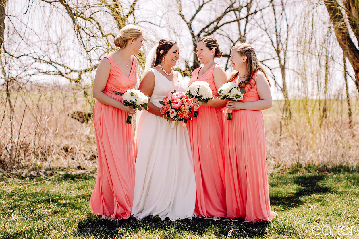 Wedding Party Bridesmaids at Rapid Creek Cidery Iowa City - Carter Photography