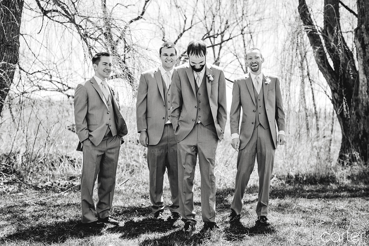 Wedding Party Groomsmen at Rapid Creek Cidery Iowa City - Carter Photography