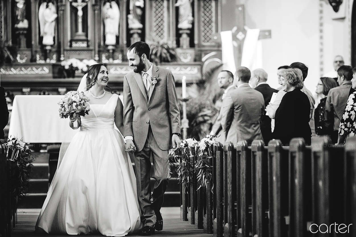 Bride Groom Wedding Ceremony St Mary's Church Iowa City - Carter Photography