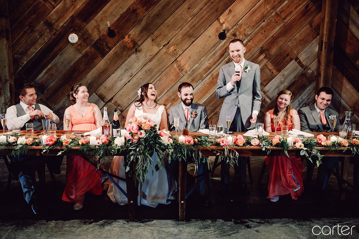 Wedding Party Reception Toasts at Rapid Creek Cidery Iowa City - Carter Photography