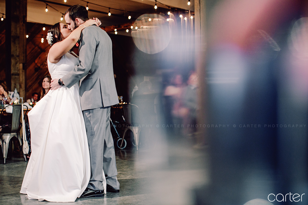 Wedding Reception Bride Groom First Dance at Rapid Creek Cidery Iowa City - Carter Photography