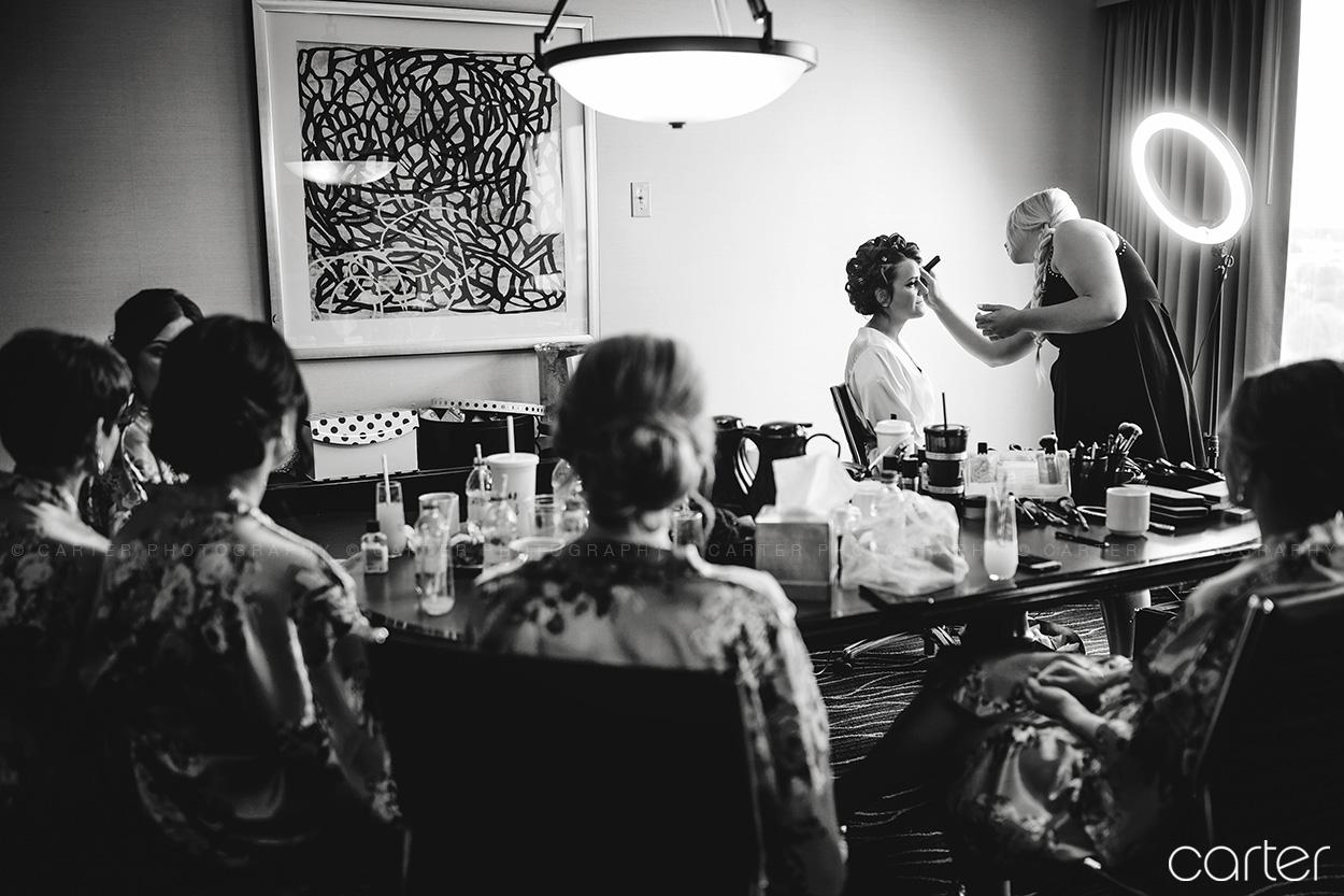 Weston Red Barn Farm Wedding Kansas City Bride Getting Ready Makeup Carter Photography