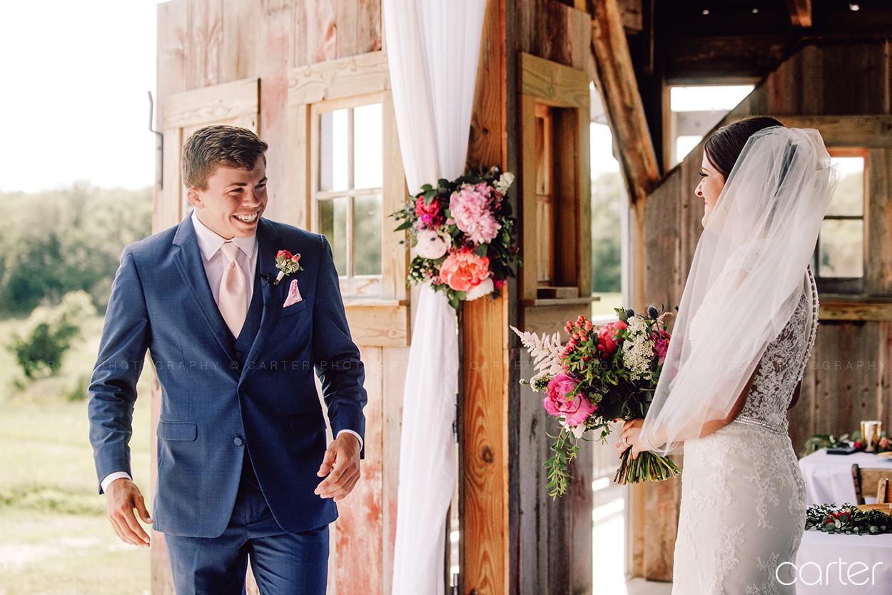 Weston Red Barn Farm Wedding Kansas City Bride Groom First Look Carter Photography