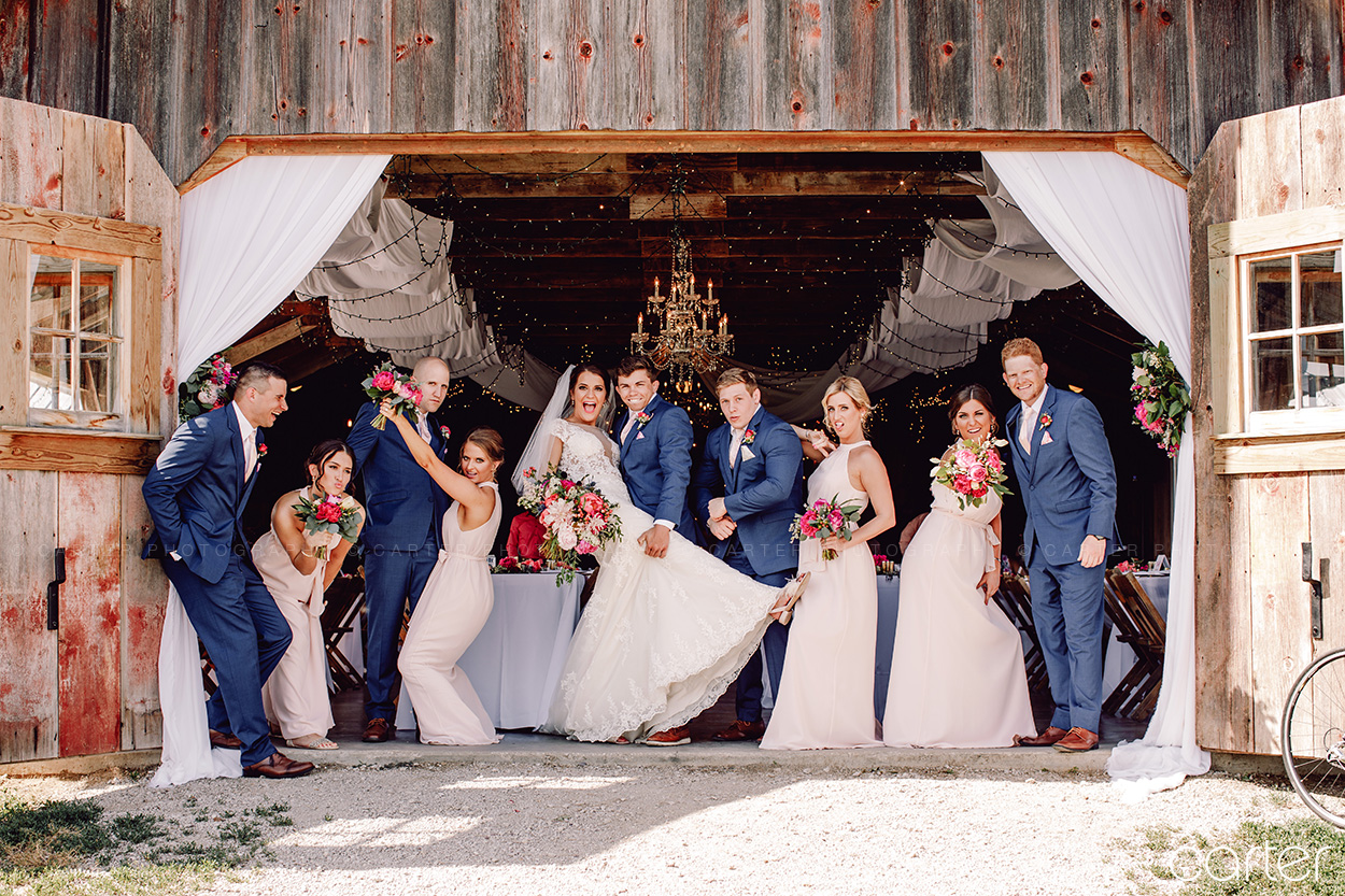 Weston Red Barn Farm Wedding Kansas City Bride Groom Wedding Party Carter Photography