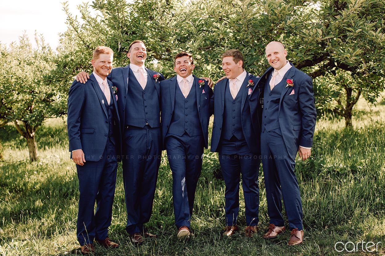 Weston Red Barn Farm Wedding Kansas City Groomsmen Suits Carter Photography