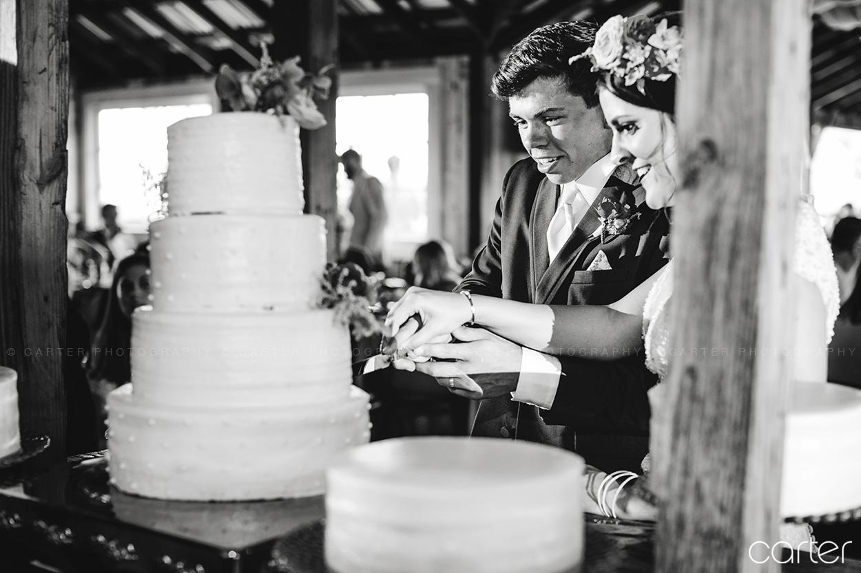 Weston Red Barn Farm Wedding Kansas City Reception Cake Cutting Carter Photography
