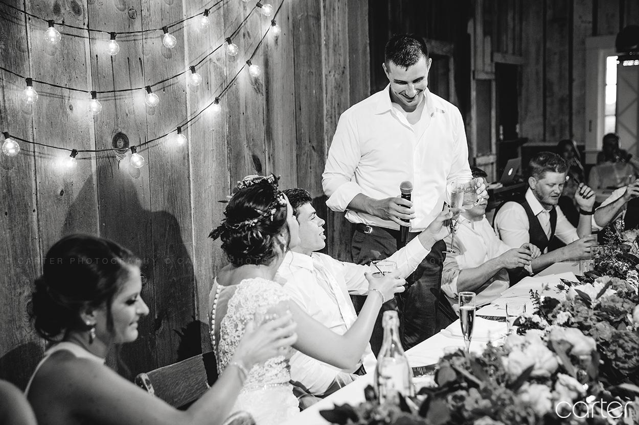 Weston Red Barn Farm Wedding Kansas City Reception Toasts Carter Photography