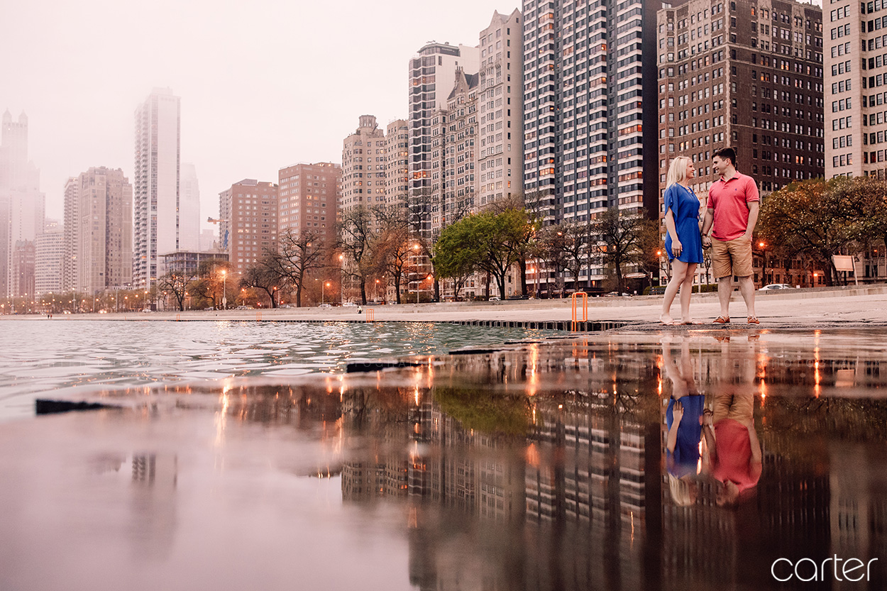 Downtown Chicago Skyline Engagement Session Pictures Carter Photography