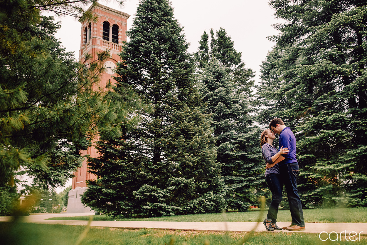 UNI Campus Engagement Session Pictures Cedar Falls Iowa Photographers Carter Photography