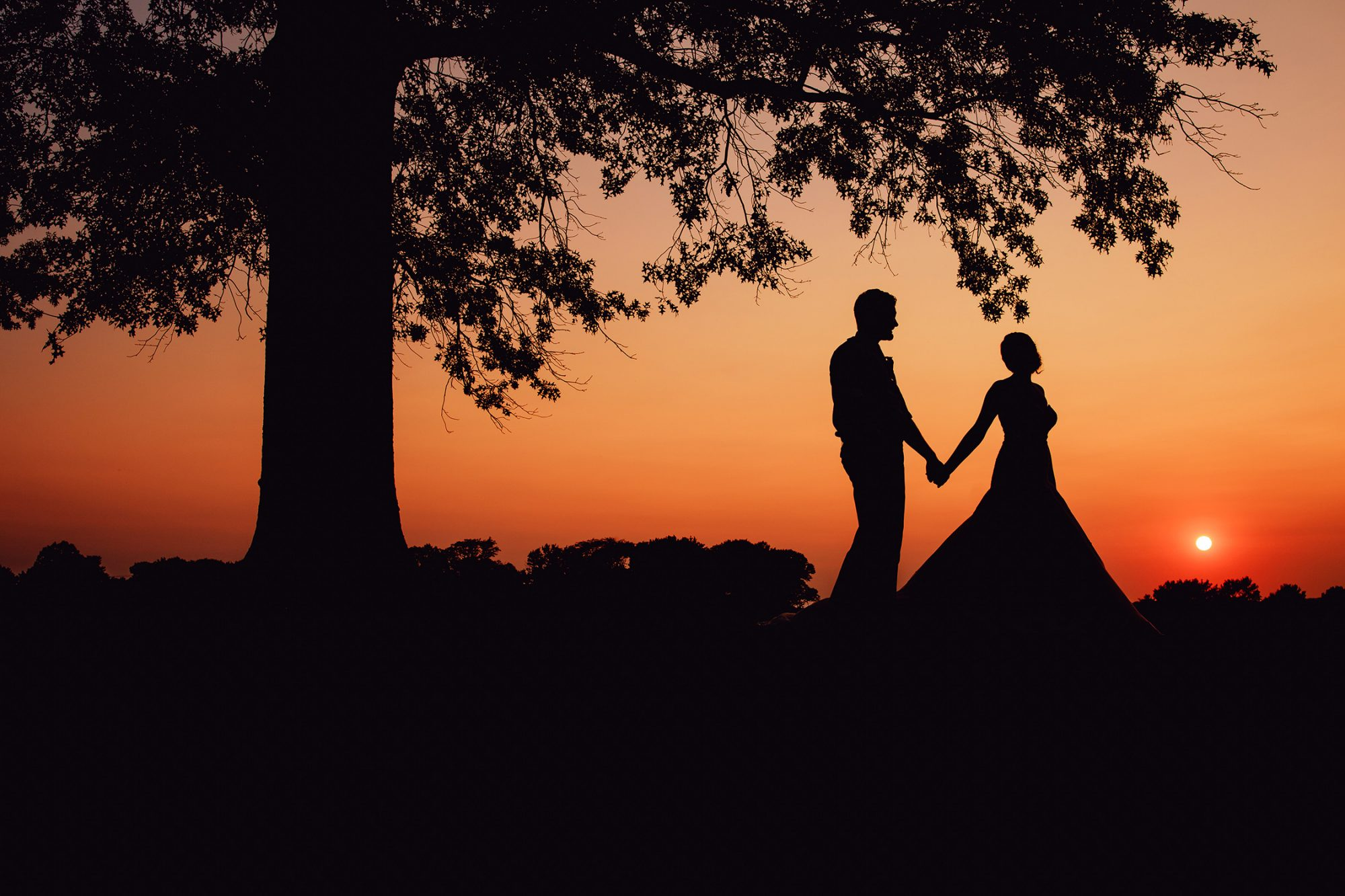 Carter Photography Wedding Silhouette Bride and Groom Sunset