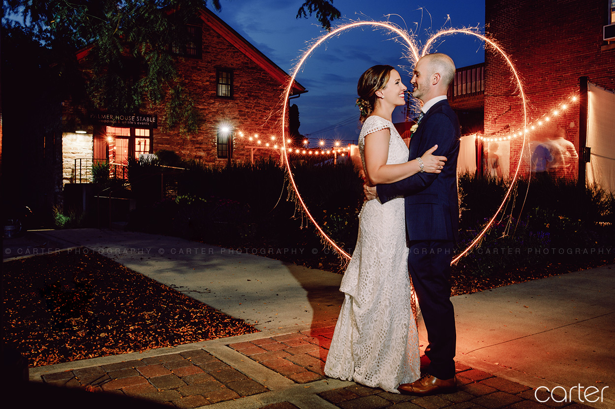 Palmer House Stable Sparkler Exit Wedding Pictures Solon Iowa Photographers - Carter Photography